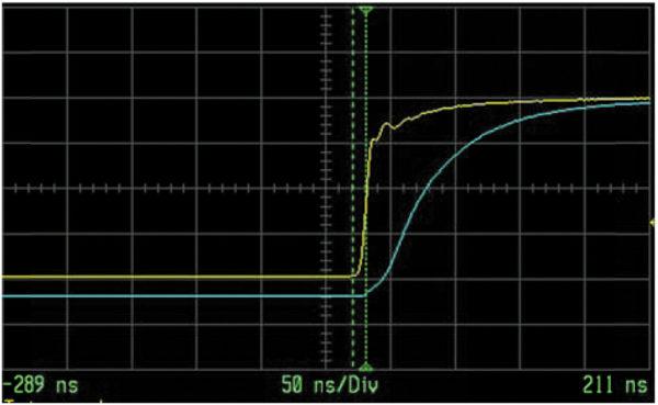 Задержка выходного импульса (синяя линия) от входного (желтая линия)