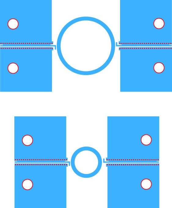 Микрополосковые кольцевые резонаторы с разными диаметрами, используемые в дифференциальном методе измерения