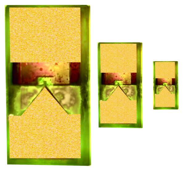 Планарные конденсаторы на МНСЭП со встречно-штыревой структурой электродов в SMD-исполнении трех типоразмеров: 0603, 0402, 0201