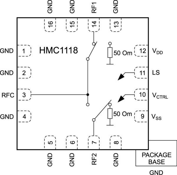 Структурная схема SPDT-ключа HMC1118