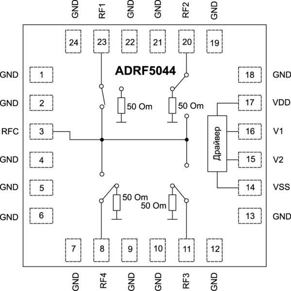 Структурная схема SP4T-ключа ADRF5044