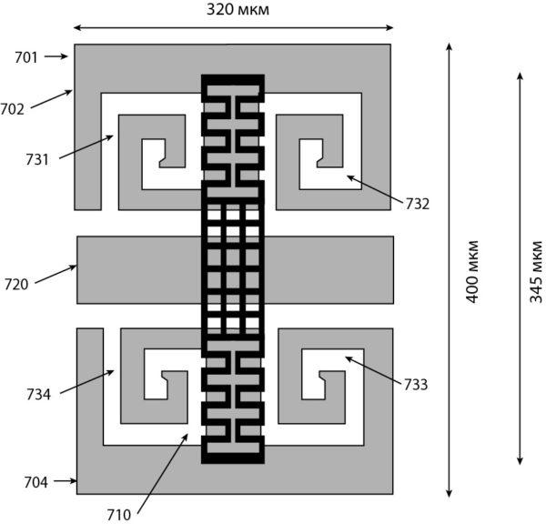 Вид сверху MEMS-переключателя с включением в его структуру DGS