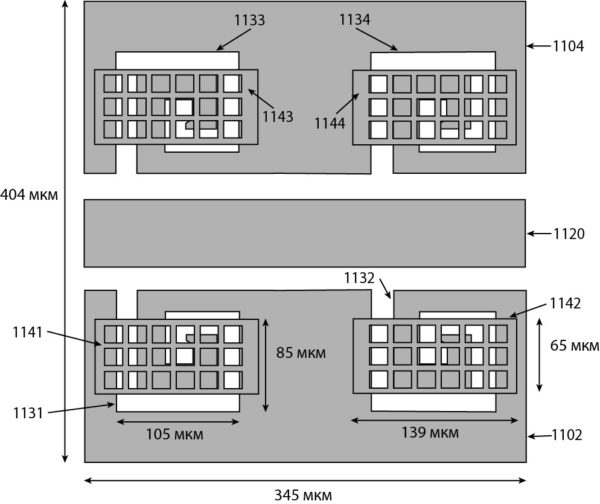 Вид сверху вариантов MEMS-переключателей с включением в их структуру DGS вторичных MEMS-переключателей