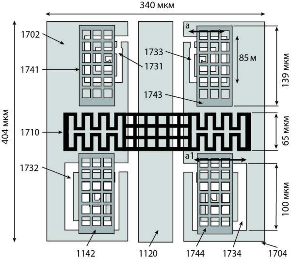 Вид сверху МЭМС-переключателя, выполненного в соответствии с идеей новой конструкции с использованием метаматериала, имеющего DGS и четыре вторичных МЭМС-переключателя