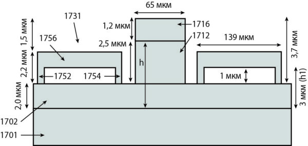 Вид сбоку МЭМС-переключателя, выполненного в соответствии с идеей новой конструкции с использованием метаматериала, имеющего DGS и четыре вторичных МЭМС-переключателя