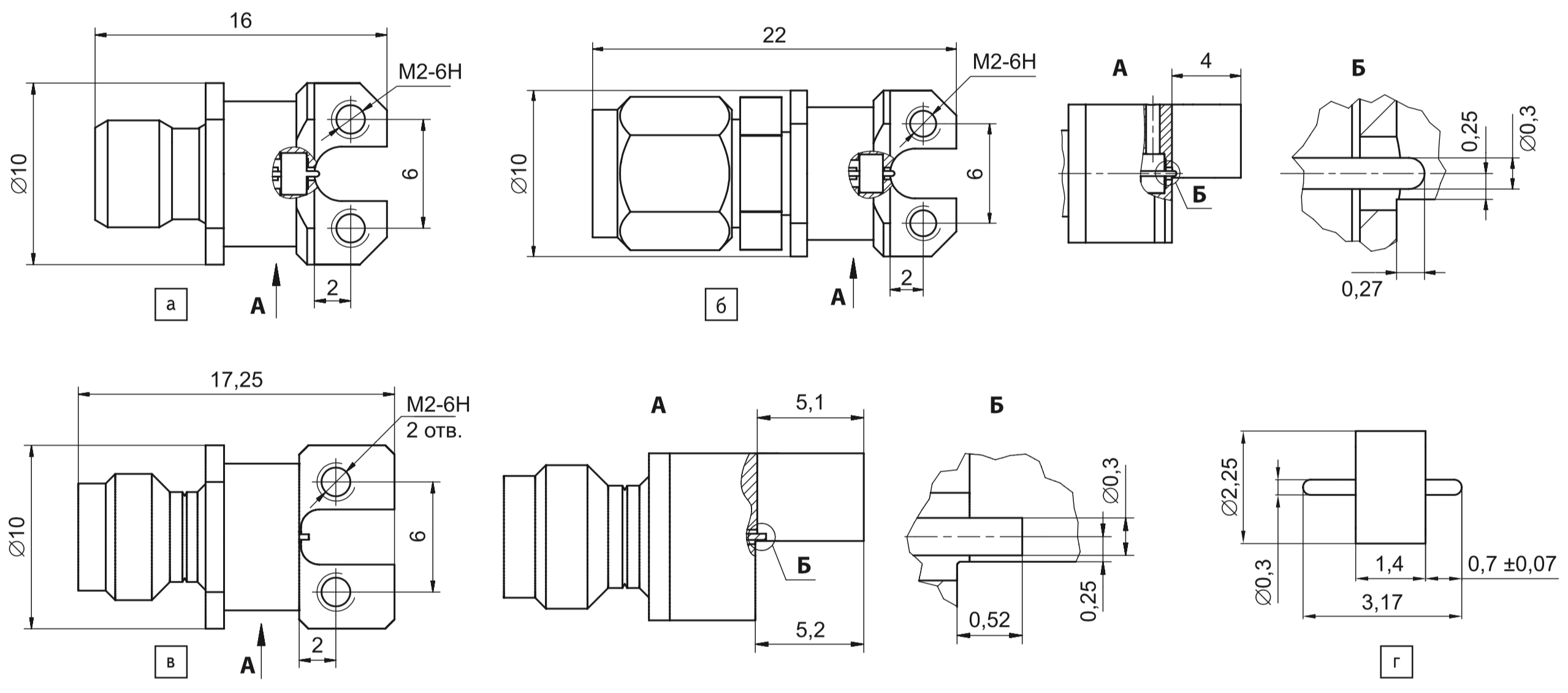 Конструкция коаксиально-микрополосковых переходов НПФ «Микран»: а) ПКМ1-32-03Р-0,3П — тип IX, вариант 3,5 мм (розетка); б) ПКМ1-32-03-0,3П — тип IX, вариант 3,5 мм (вилка); в) ПКМ1-50-05Р-0,3П — тип 2,4 мм (розетка); г) гермоввод МК100М
