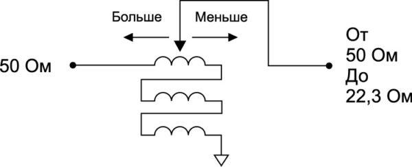 Трехпортовый трансформатор с коэффициентом преобразования 2,25:1