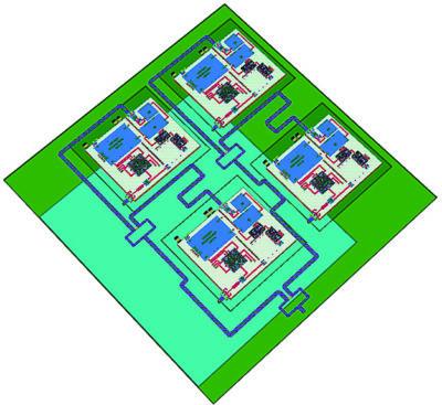 Приемопередающий модуль с антенной решеткой 2×2 элемента