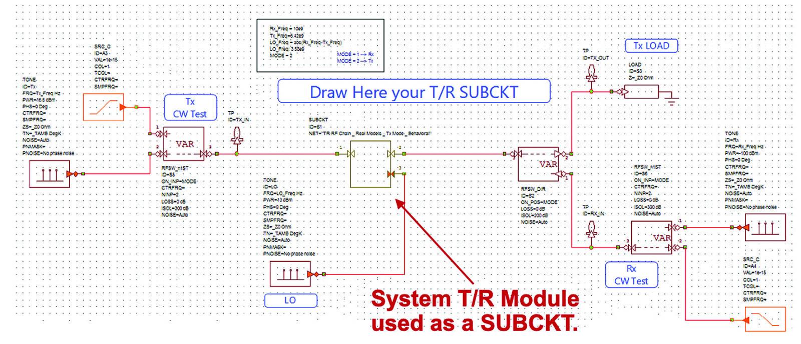 Системная диаграмма проекта System T/R module used as a SUBCKT — модуль в виде подсхемы
