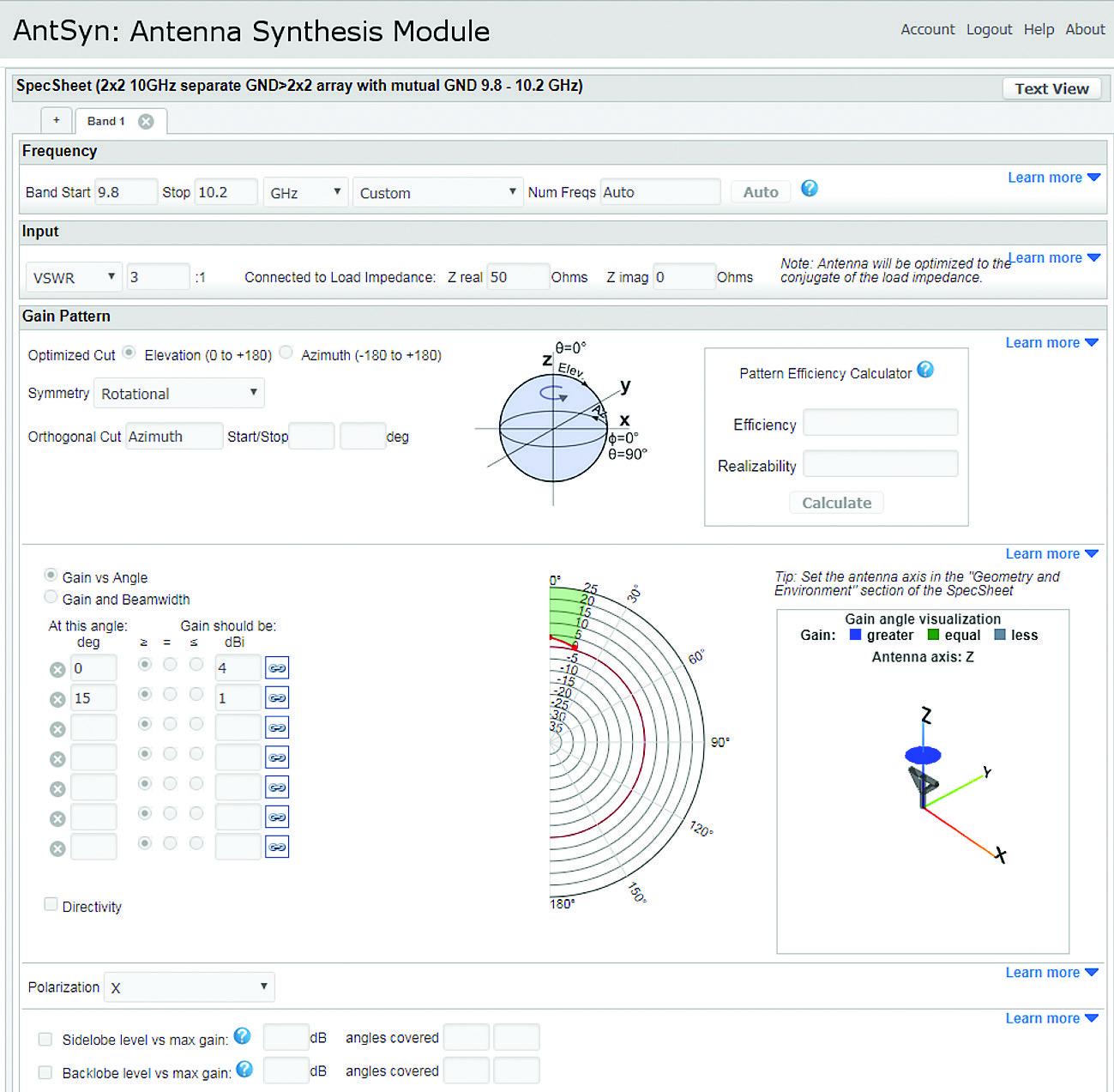 Интерфейс инструмента синтеза антенн AntSyn