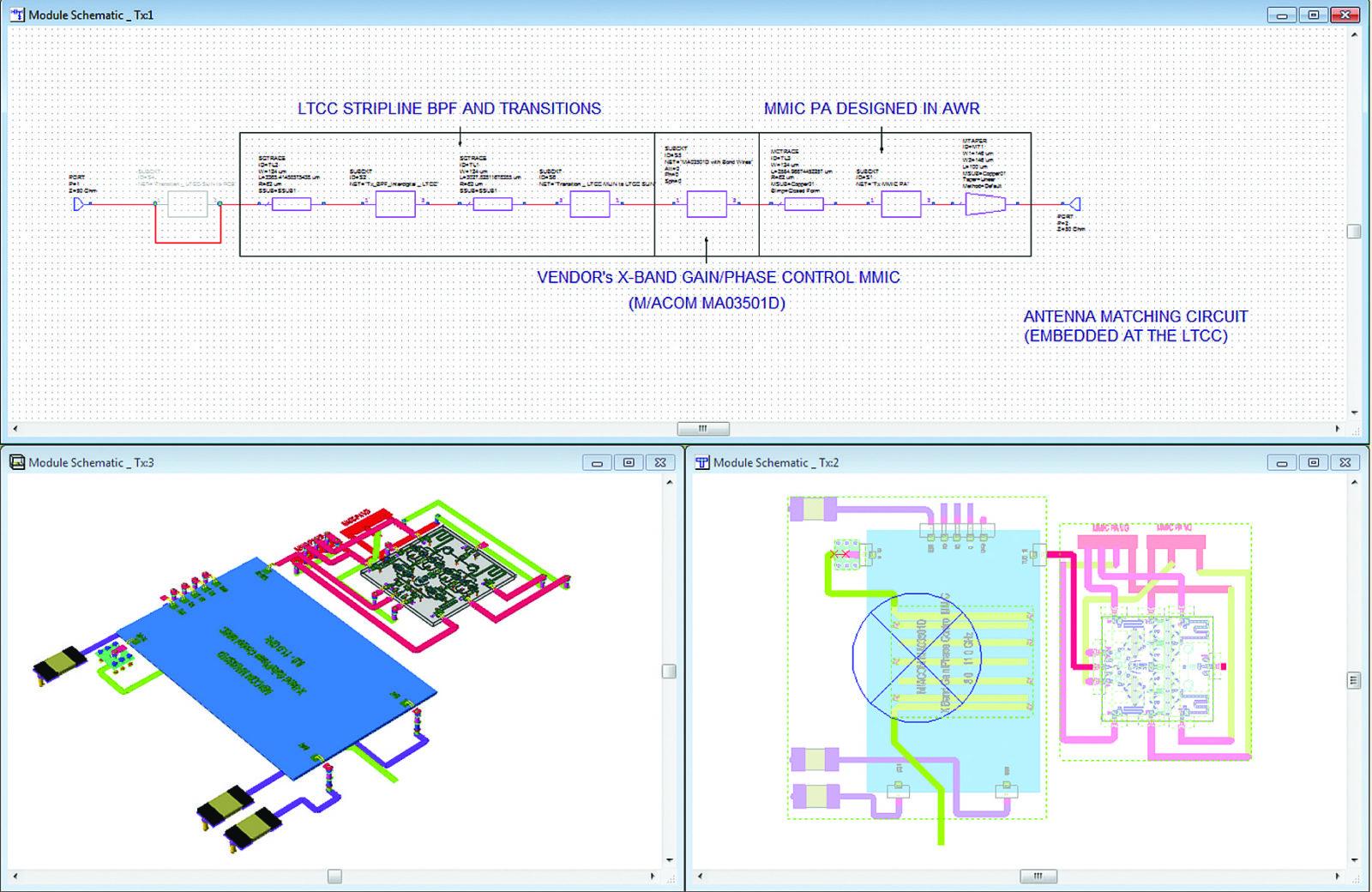 Схема и 2D-/3D-виды топологии части модуля