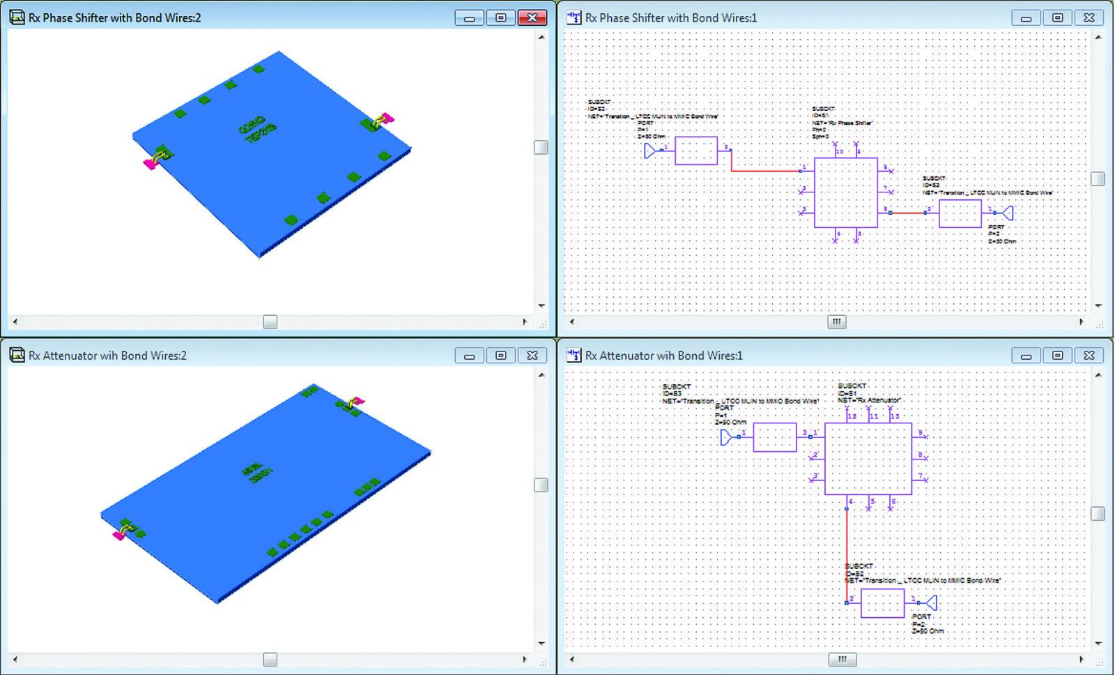 Импортированные модели аттенюатора и фазовращателя