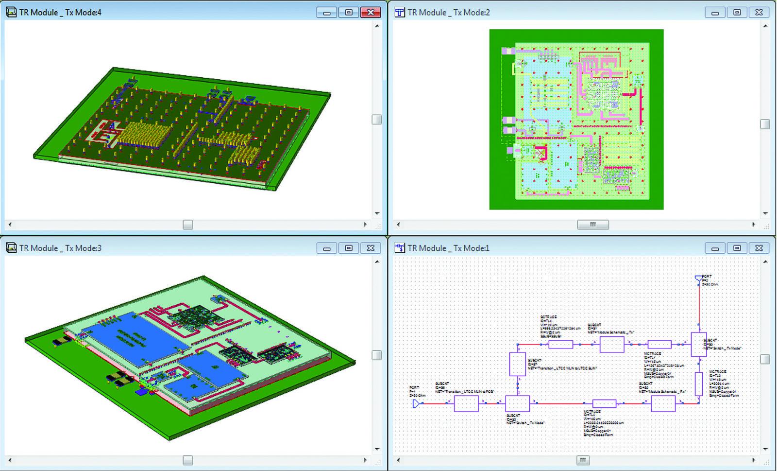 Схема и топология модуля с перемычками и заземлениями