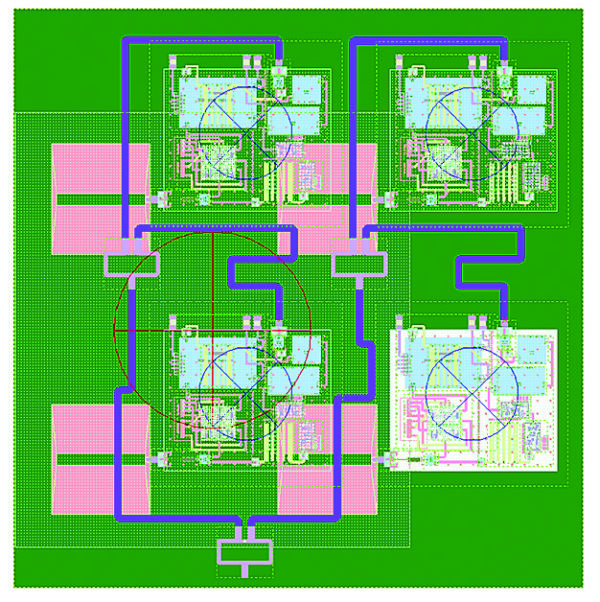 Топология собранного модуля вместе с антенной решеткой