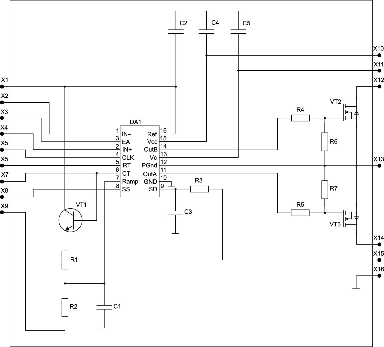 Электрическая принципиальная схема микросборки