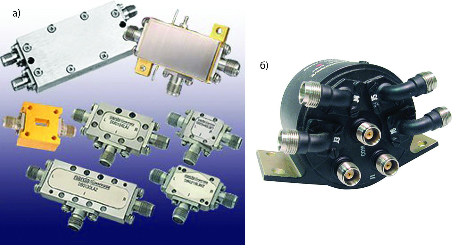 Различные модели смесителей компании L3 Narda-MITEQ в коаксиальном исполнении и коаксиальный SP6T-ключ модели CS18T16-12, производимый компанией Teledyne Microwave