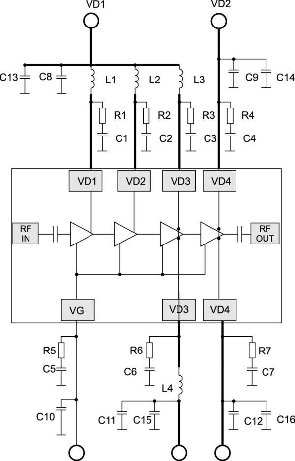 Типовая схема включения усилителя MAAP-011140