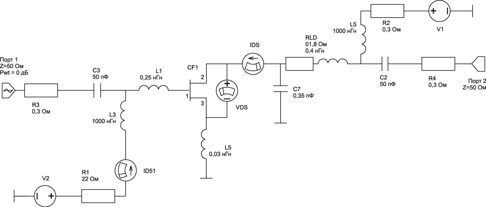 . Схема включения нелинейной модели транзистора 3П612А-5
