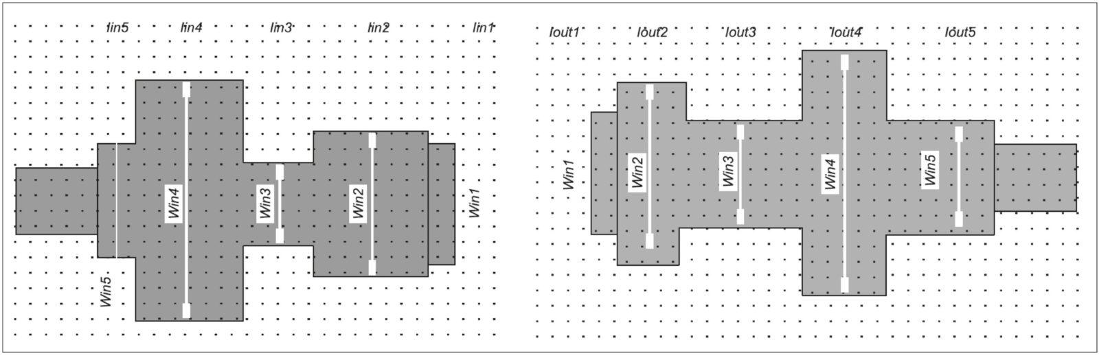 Топология входной и выходной согласующих цепей транзистора 3П612А-5