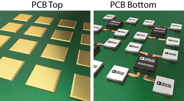 Изображение плоской антенной решетки, на которой показаны элементы антенны, расположенные на верхней стороне печатной платы, и микросхемы, расположенные на нижней стороне печатной платы