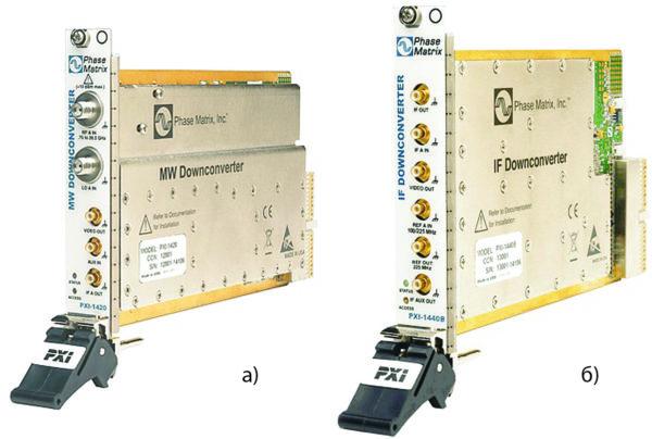Преобразователи частот с понижением PXI-1420 MW (2,75–26,5 ГГц) и PXI-1440B IF (100 кГц — 425 МГц), предлагаемые компанией Phase Matrix