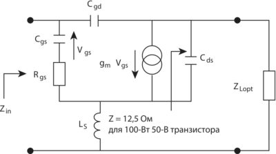 Упрощенная эквивалентная схема GaN-транзистора