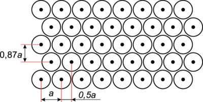 Прямоугольная антенна с гексагональным расположением излучателей