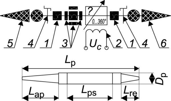 Схема и эскиз элемента проходной ФАР