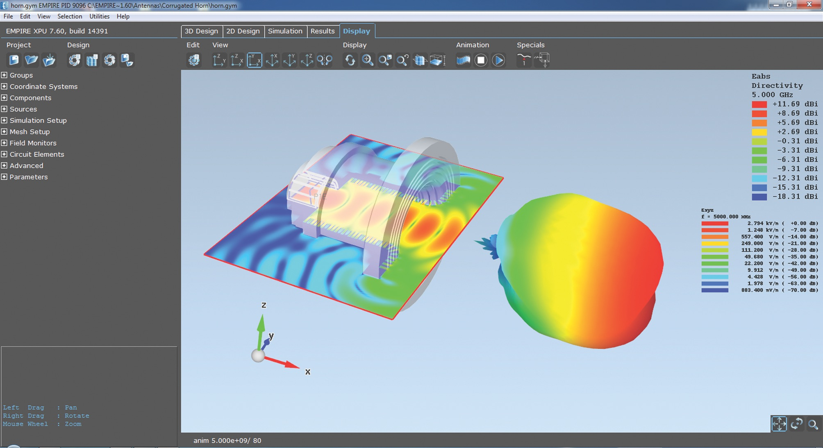 Просмотр 3D-модели и результатов моделирования на вкладке Display