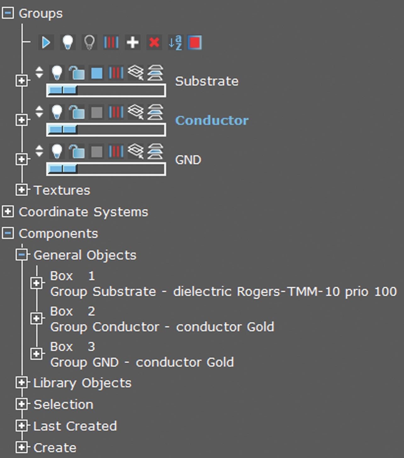 Пример списка групп Substrate, Conductor и GND