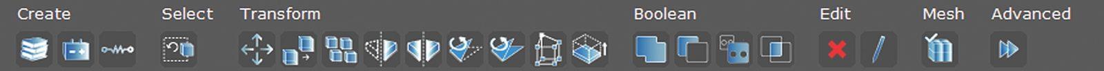 Панель инструментов после выбора объекта типа «бокс»