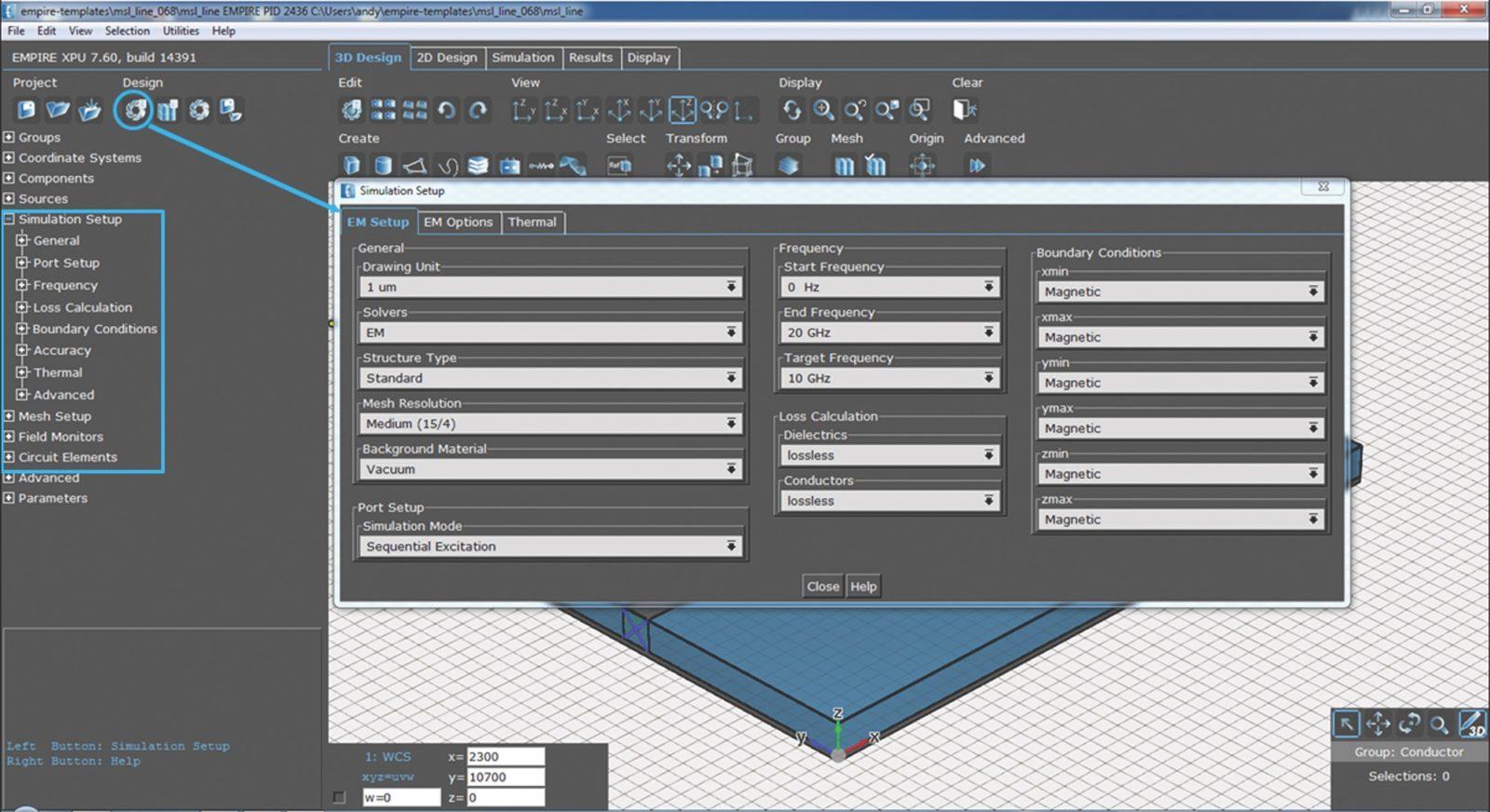 Настройка параметров моделирования в окне Simulation Setup