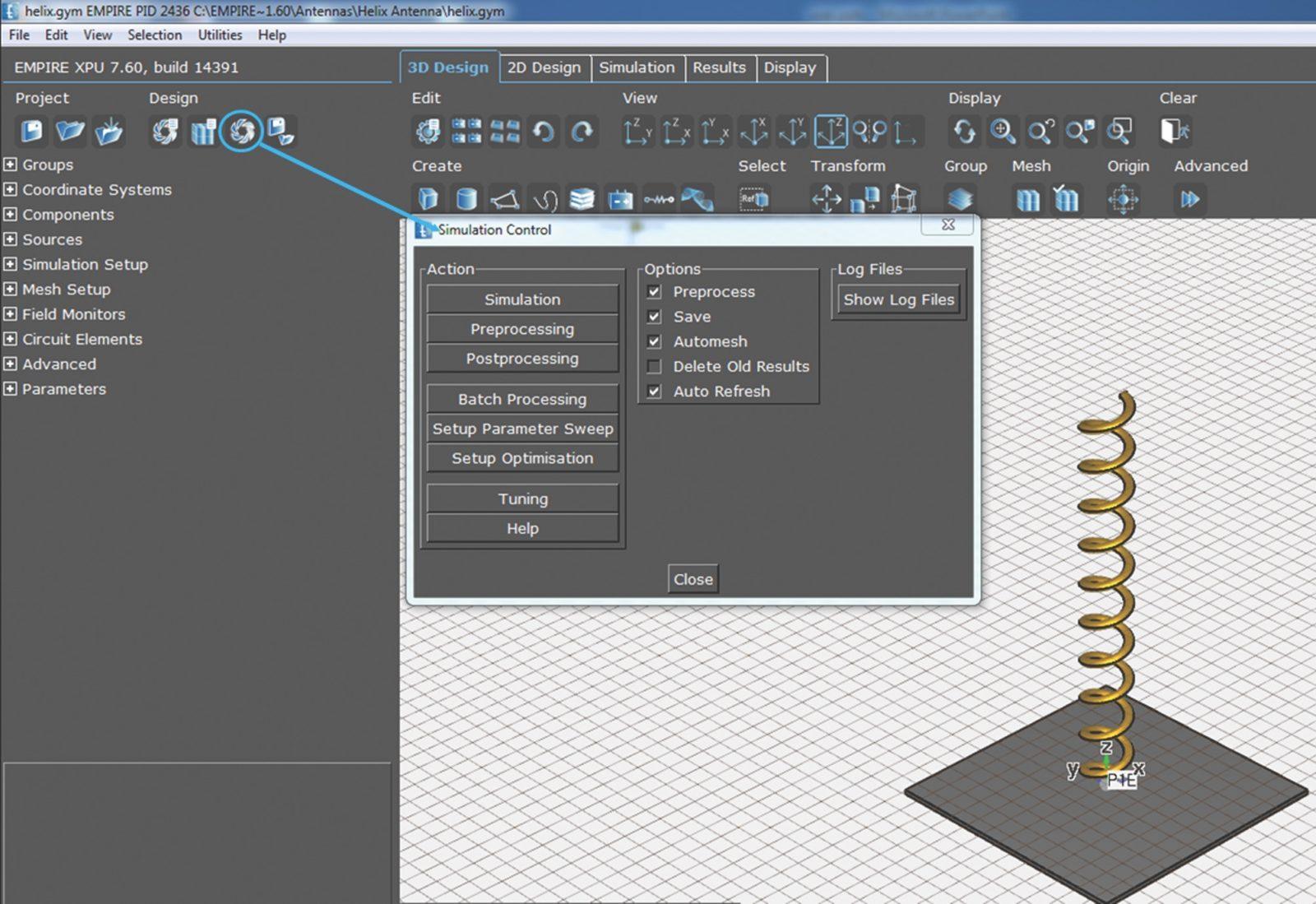 Окно запуска моделирования (Start Simulation)