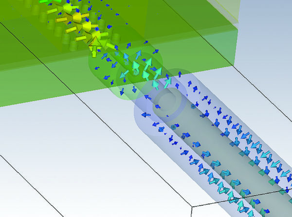 Распределение E-компоненты ЭМ-поля в модели