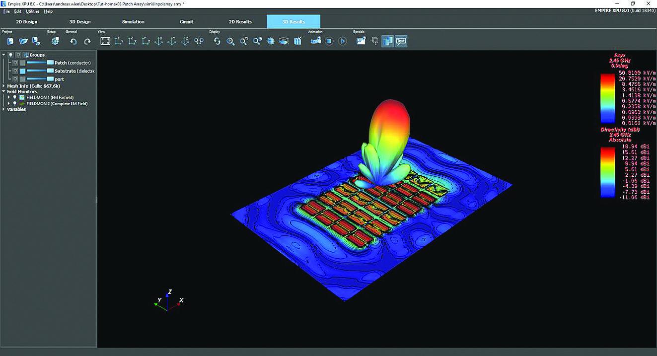 Просмотр диаграммы направленности антенны в 3D