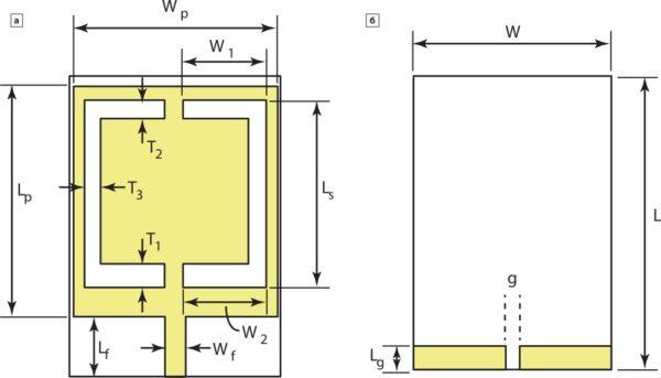 Внешний вид предлагаемой многодиапазонной антенны для систем беспроводной связи: вид сверху (а) и вид снизу (б)