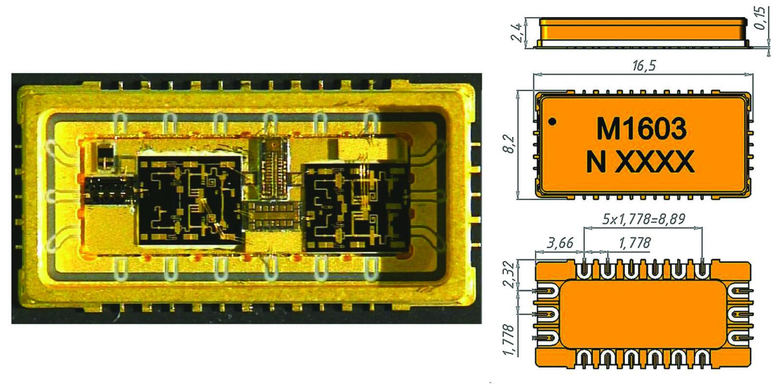 Конструкция интегрального усилительного модуля в корпусе SMD-монтажа. Диапазон частот 5–18 ГГц, выходная мощность 1,5 Вт