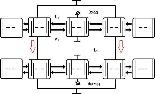 Конструкция ПАВ-устройства на основе продольно-связанных резонаторов