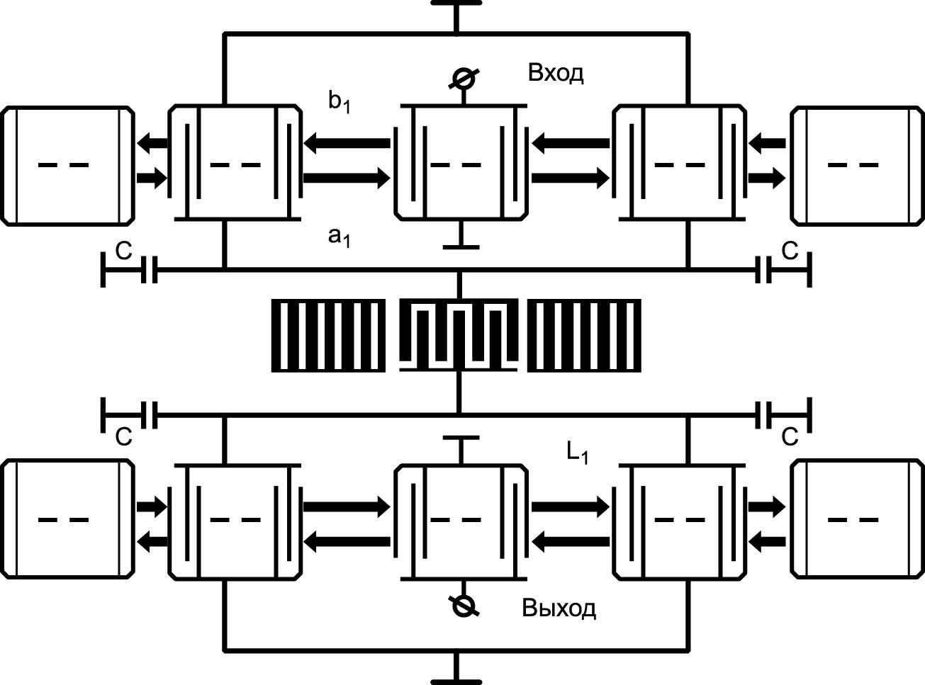 Структура комбинированного фильтра с продольной акустической связью