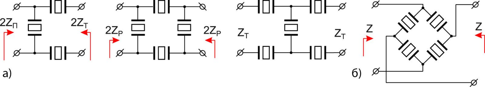 Схемы симметричных балансных звеньев фильтров на ПАВ c электрической связью резонаторов