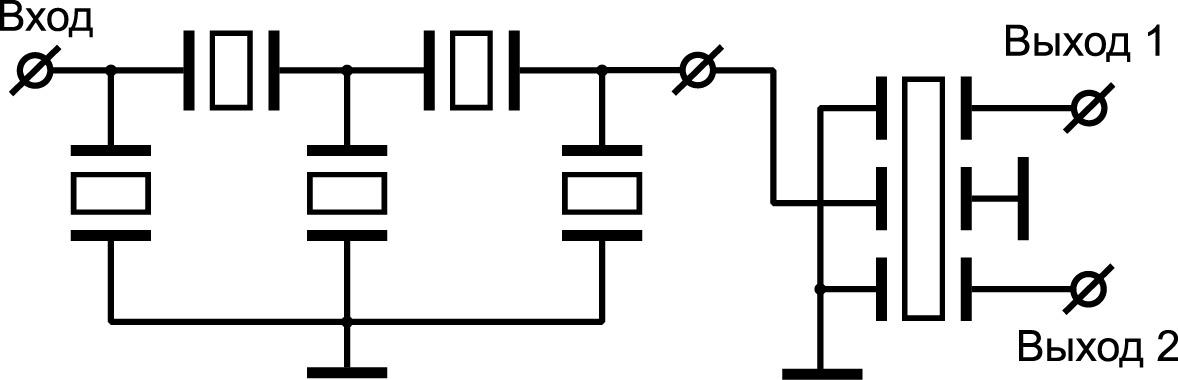 Балансный фильтр на ПАВ с комбинированной связью резонаторов