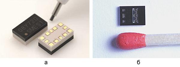Корпусированные МЭМС-переключатели: а) 2SMES-01 с электростатическим приводом фирмы Omron; б) с пьезоэлектрическим приводом фирмы Advantest