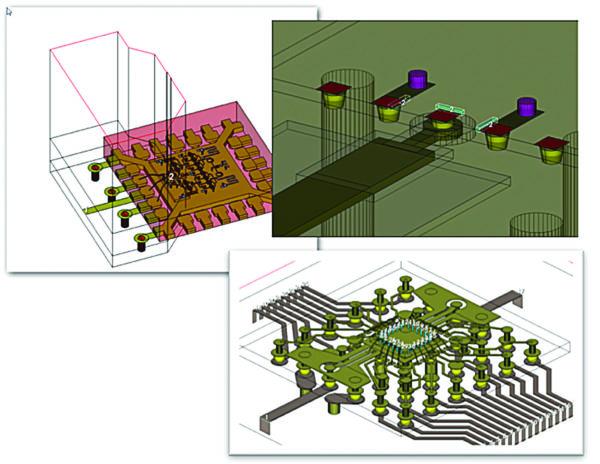 Установленное на печатной плате RFIC/MMIC-устройство в корпусе QFN, корпусирование по технологии flip-chip (перевернутый кристалл) и выводами, подключенными через внутренние перемычки