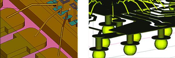 Ячейки 3D PCells могут представлять собой общие типы 3D-объектов, таких как перемычки связи, выводы BGA и QFN-корпусов, а также SMA-разъемы