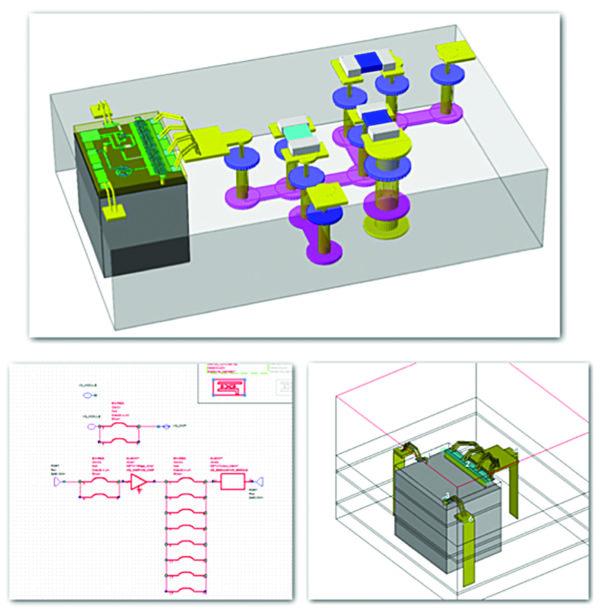 Мультитехнологический модуль MMIC в 3D (сверху), а также перемычки связи, выбранные в схеме (внизу слева) и извлеченный через EM Extraction переход в 3D-симулятор Analyst (внизу справа)
