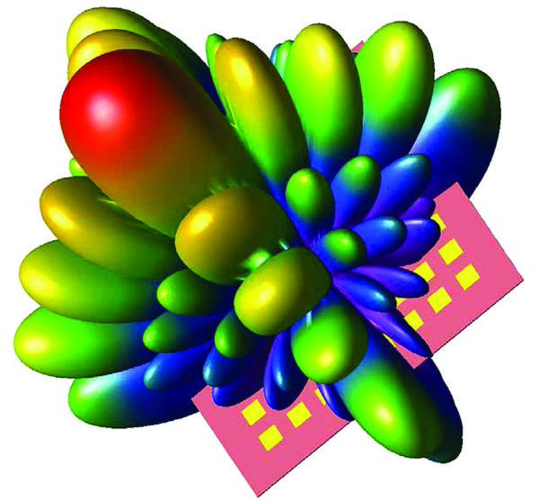 Антенная решетка со структурой 8×8 обеспечивает максимальное усиление в направлении, перпендикулярном ее плоскости