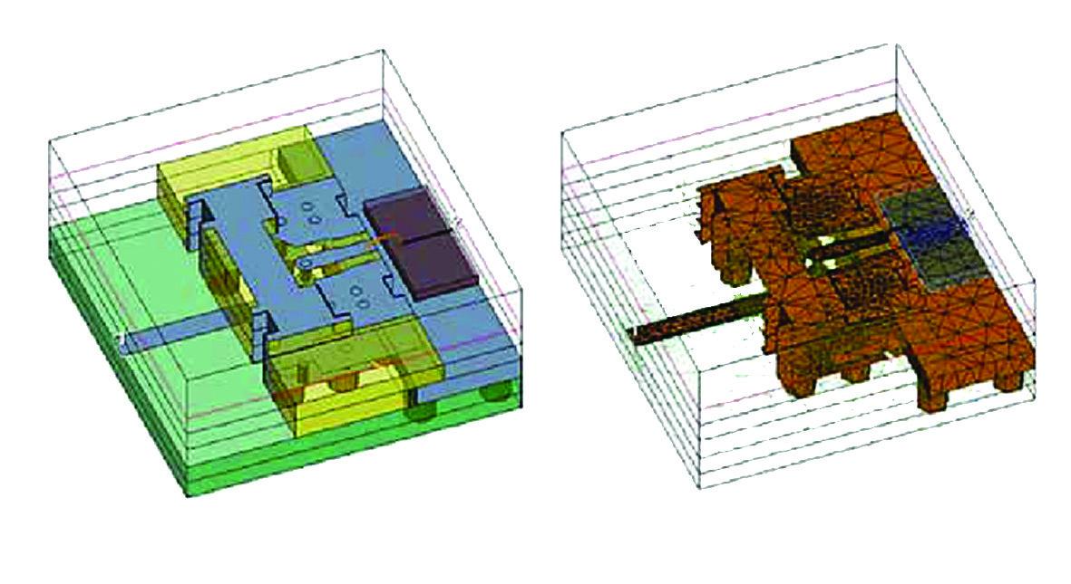 Моделирование корпуса MMIC в AWR Analyst (слева) и результирующая сетка (справа)