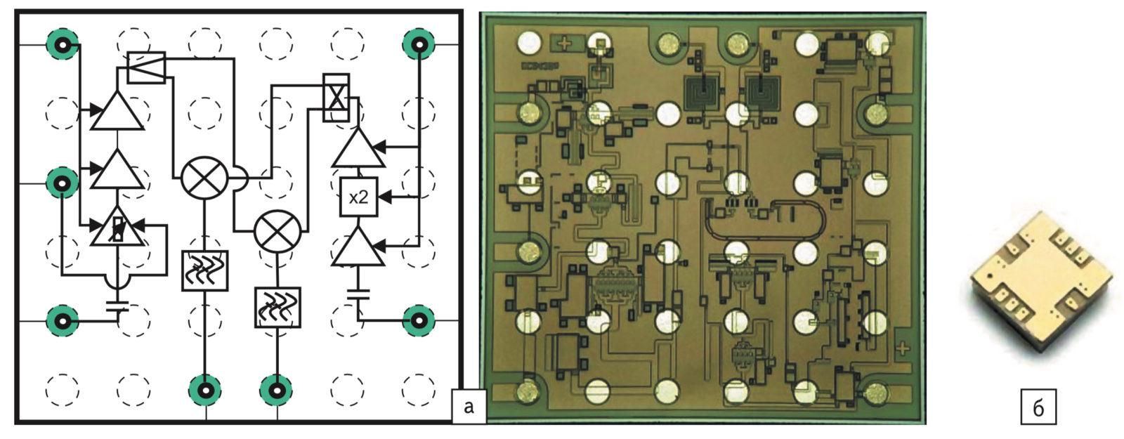 Структура и топология ИС ES/SMM5144XZ компании Sumitomo Electric; б) конструктив ИС AMGP-6552 от компании Avago Technologies