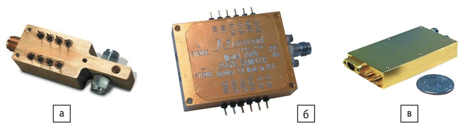 Модули стробоскопического преобразования сигнала компании Picosecond Pulse Labs: а) компонент на 100 ГГц; б) модуль 7040 (Sampler Module); в) модуль 7600 (Down Conversion Sampler Module)