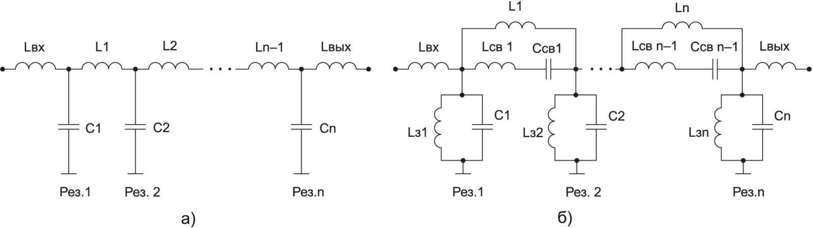 Эквивалентные схемы фильтров: ФНЧ и ВГФ